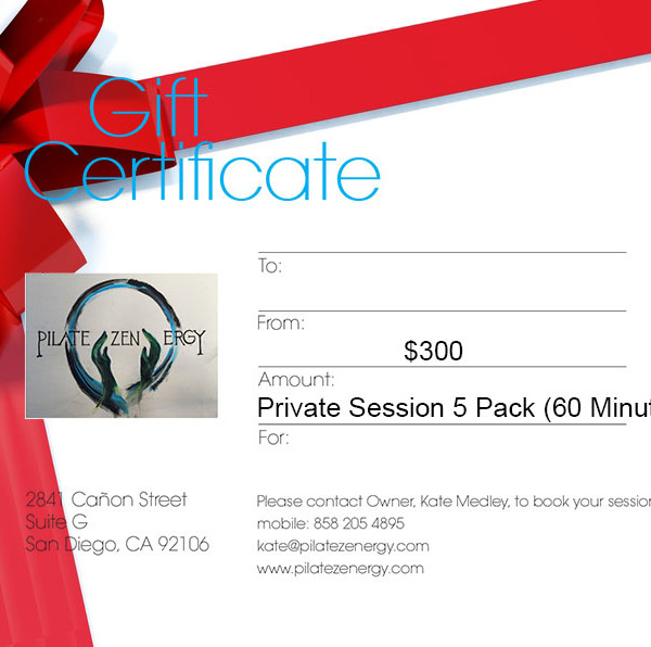 Private 60 minute session 5 Pack